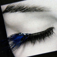 Blue Iridescent Peacock False Eyelashes by Cat&#x27;s Meow