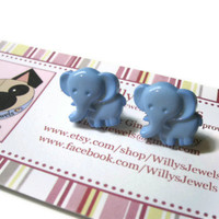 Elephant Stud Earrings, Blue, Acrylic, Silver Toned Hypoallergenic Posts.