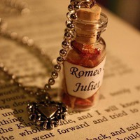 Glass Vial Necklace  Romeo & Juliet by spacepearls on Etsy