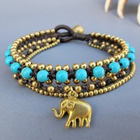 Golden Elephant Brass Multi Strand Bracelet