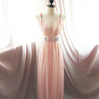 Egyptian Goddess Pink Rose Blush Chiffon Long Dress Dreamy Flowy Alice in Wonderland Marie Antoinette Lavish Elegant Jane Austen Garden Gown
