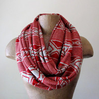 Southwestern Sweater Scarf - Chunky Infinity Knit Scarf - Paprika and Oatmeal Circle Scarf - Eternity Scarf, Autumn Scarf, Winter Scarf