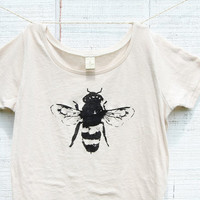 Bee Shirt -Womens - Natural White Alternative Apparel -  Honey Bee - Organic shirt - Small, Medium, Large, XL- Clothing -Tshirt