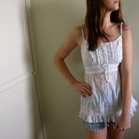 Vintage White Ruffle Tunic Tank Top Womens See Through Prairie Indie Hippie