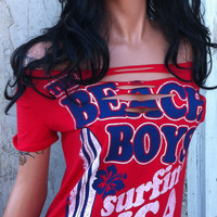 The Beach Boys Shredded Red Band Shirt