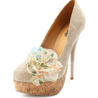 Charlotte Russe - Blossom-Accent Canvas Pump
