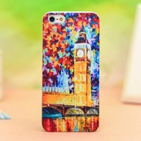 Novetly Oil painting London Big Ben Relief Hard Case for Iphone 5