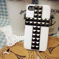 white cross metal rivet case for iphone 4/4s/5 from Fancy Mall