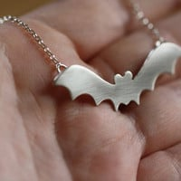 $55.00 Bat necklace in sterling silver by PeculiarForest on Etsy
