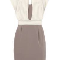 MINK CHIFFON OVERLAY BANDEAU DRESS