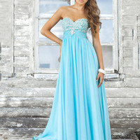 A-line Strapless Sweetheart Empire Beaded Bodice Long Chiffon Prom Dress from Dresses Show
