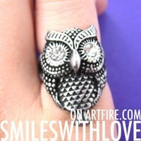 SALE - Owl Bird Animal Ring in Silver in Available Sizes 6 and 8 ONLY