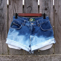 "Ombre shorts high waisted denim 5 pocket cut offs dip dye half bleached frayed booty shorts blue jeans 29"" waist Daisy Duke"