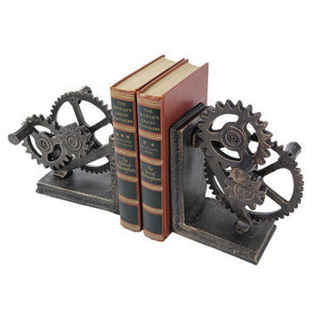 Industrial Gear Sculptural Iron Bookends - QH9631 - Design Toscano
