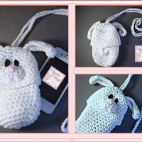 Bunny Pouch crocheted, Camera, Phone, Bottle Cozie READY to SHIP