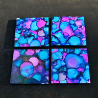 Purple and Blue Dyed Coasters Set of 4 by TieDyeBySandy on Etsy