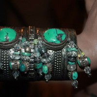 showdiva designs Huge Silver Cuff with Turquoise Beads by showdiva