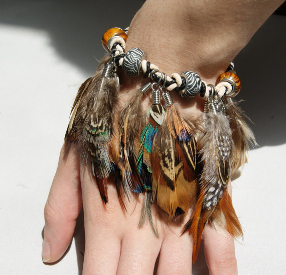 Tribal Pheasant FeatherLeather Bracelet with by GinaGrantsJewelry