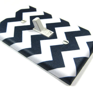 White and Navy Blue Chevron Blake Light Switch Cover  Modern Home Decor