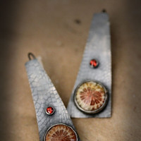 Fossilized Coral, Garnets, Set in Antiqued Sterling Earrings, One of a Kind Sterling Silver