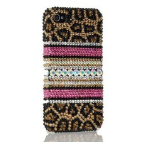 LEOPARD BLING 3d Handmade Swarovski Crystal & Rhinestone Animal Print Iphone 4 case/cover by Jersey Bling