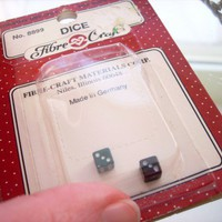 Miniature Doll House Dice, Decorative Game Pieces, Set of 2, NOS
