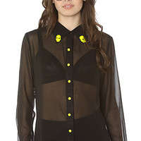 *LA Boutique Buttondown Breaker Shirt in Black