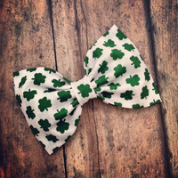 Irish clover shamrock fabric hair bow rockabilly by SplendidBee