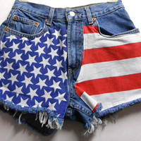 "Waist 26  inches""""-----Ready to Ship---Vintage  Levis High Waisted -- Denim Shorts - American Flag Style-----"