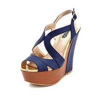 X-Front Pieced Pleather Wedge: Charlotte Russe