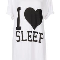 I Heart Sleep Slogan PJ Tee - Lingerie &amp; Nightwear - Clothing - Topshop