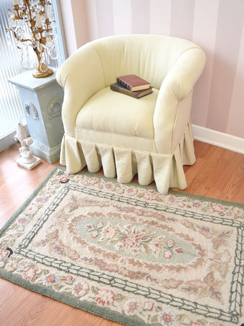 Shabby Vintage Sage and Pink Floral Rug - The Bella Cottage