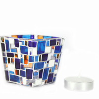 Hand Painted Glass  Candle Holder Tea light   hand painted candle holder  White  cobalt  blue  orange contemporary geometric  design
