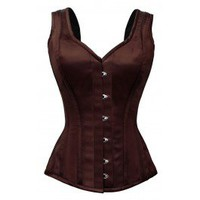 GC-1022 - Brown Satin Style Corset with Shoulder Straps