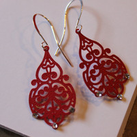Red Chandelier Filigree Earrings with Swarovski by JADjewelry