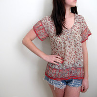 Vintage Paisley Blouse See Through Thru Sheer Thin Womens Shirt Tunic Red Gypsy