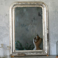 One of a Kind Antique Mirror Louis Phillipe Silver Leaf