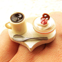 Food Ring  Coffee Ice Cream  Miniature Food Jewelry