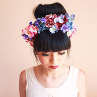 wild flower crown headband  // wedding bridal headpiece, quirky garden party, summer, festival, engagement.