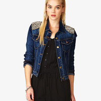 Spiked Denim Jacket | FOREVER 21 - 2054143322
