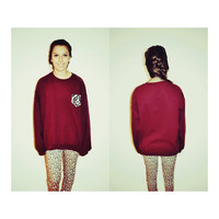 Maroon Cut crew sweatshirt with patterned pocket by TheBeckerShop