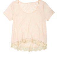 Short-Sleeve Burnout Crochet Hi/Lo Sweatshirt