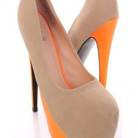 Beige Orange Faux Suede Neon Tonal Pump Heels