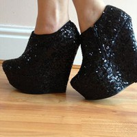 Sequin Platform Wedge Boots from Shoetique