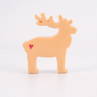 Light Orange Reindeer Figurine with Red Hearts
