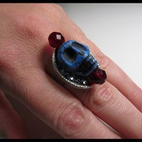 Carved Blue Skull Glass Ring Gothic Day of the Dead One of a Kind DIY
