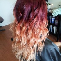Ombre Hair Extensions/DipDye/Oxblood/Slow Fade to Gorgeous Peach Tips
