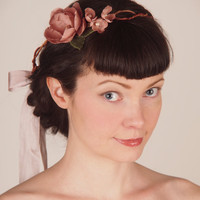 Bohemian Wedding Flower Crown - Bridal Headband Circlet - Blush Pink Silk Flowers - Delphine