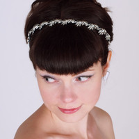 Wedding Headband - Vintage Silver Leaves & Silk Ribbons - Bridal Headpiece - Isobel