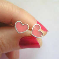 Silver Earrings  Pink Heart Stud Earrings  by DaliaShamirJewelry
